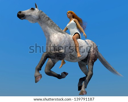 3D Model of the woman on a horse