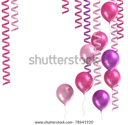 3d model purple ballons and present on white background - stock photo