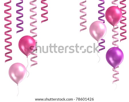 3d model purple ballons on white background - stock photo