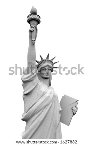3 d model statue liberty close isolines stock illustration 1627882