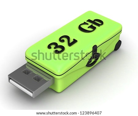 3D model USB Flash Drive isolated on white background. 3d illustration - business concept (choose the best)