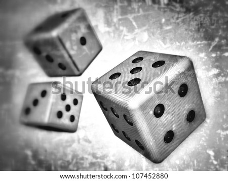 3D-modeled dice, representing topics such as game and gambling, as well as concepts such as random, fate and probabilities - stock photo