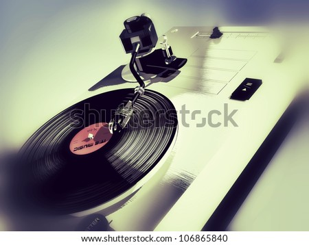 3d-modeled vinyl player, representing concepts such as vintage objects, entertainment, parties, nightclubbing, music, as well as mixing by deejays and animation