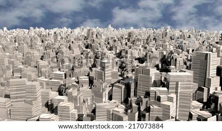 3d modern city - stock photo