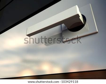 3d modern design door handle - stock photo