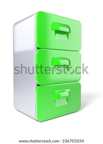 3d modern file cabinet on white background