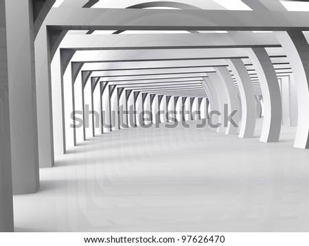 3d modern hall - stock photo