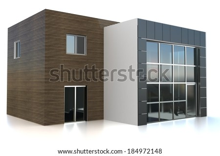 3d modern house on white background  - stock photo