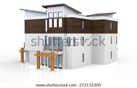 3d modern house on white background  - stock photo