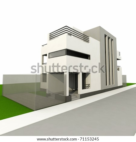 3d modern house, render in 3ds max, on white background