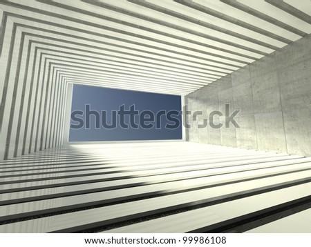 3d modern interior, empty corridor - stock photo