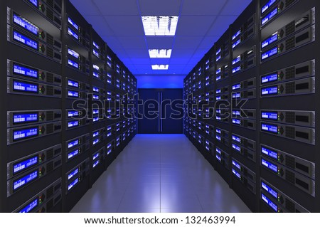 3d Modern interior of server room - stock photo