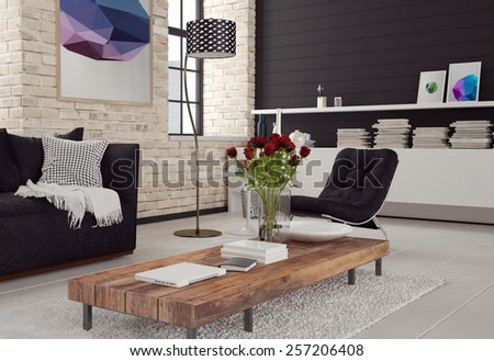 3d Modern living room interior in black and white decor with textured brick walls, a sofa and chair around a wooden coffee table and cabinet with books. 3d Rendering. - stock photo