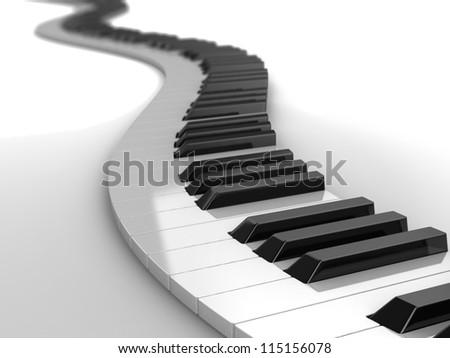 3d modern piano curves, music concept - stock photo