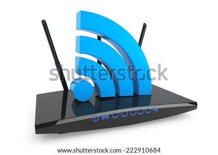 3d Modern WiFi Router with WiFi sign on a white background - stock photo
