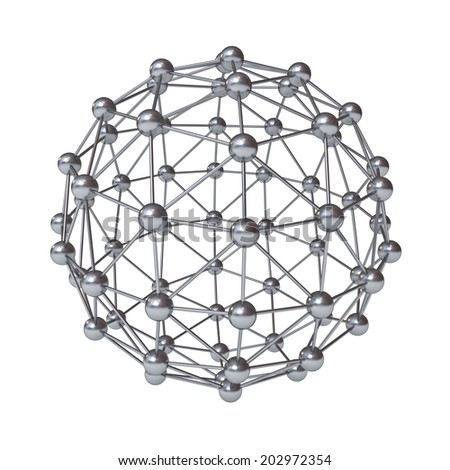3d molecular structure geometry model isolated over white background with reflection - stock photo