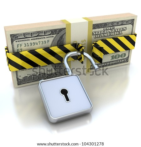 3D Money and lock. Data security concept. - stock photo