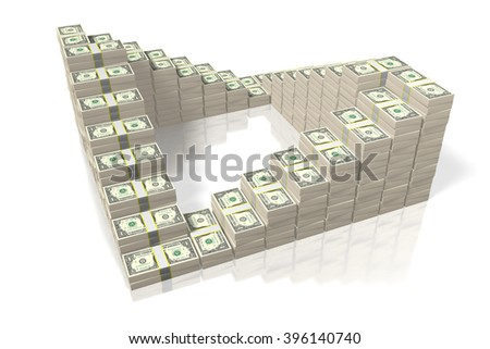3D money concept - US dollars.