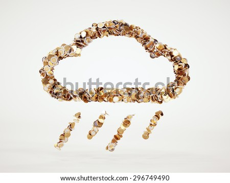 3d money rain sign with included clipping path - stock photo