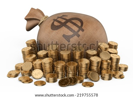 3d Money sack and piles of coins. Isolated white background.  - stock photo