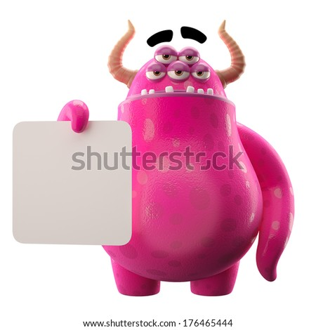 3D monster, mascot, funny character, cartoon icon, joke, fairytale character, cheerful creatures isolated on white background, comic object, notice, sign  - stock photo