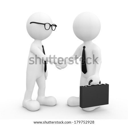 3D Morph Businessmen Shaking Hands - stock photo