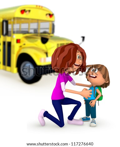3D Mother sending kid off to school - isolated over a white background - stock photo