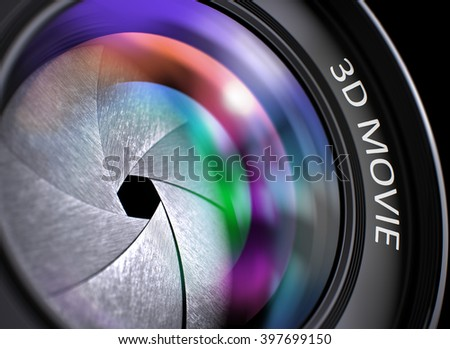 3d Movie Concept. Closeup Photographic Lens with Pink and Orange Reflection. Black Background. 3d Movie Concept. Closeup of a SLR Camera Lens with Beautiful Color Lights Reflections. 3D Illustration. - stock photo