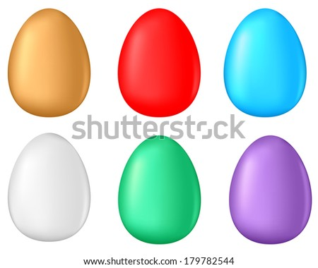3D multicolor Easter egg set - stock photo