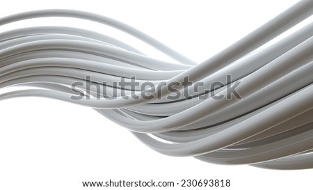 3d multicolored cable isolated on white background - stock photo