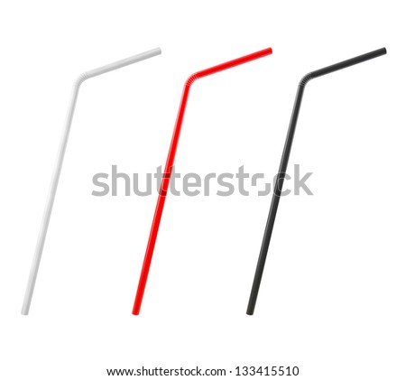 3D Multicolored Drinking Straws Isolated on White Background - stock photo
