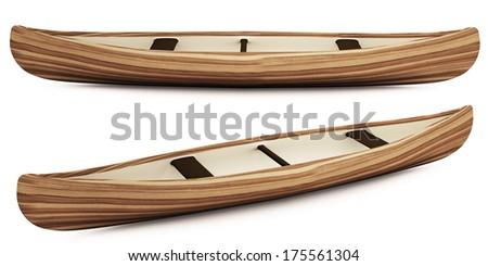 3d native indian canoe on white background - stock photo
