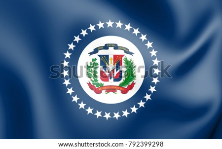 3D Naval Jack of Dominican Republic. 3D Illustration.
