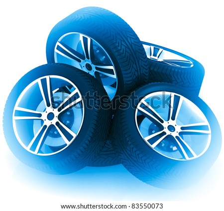 3d neon car wheels on white background.