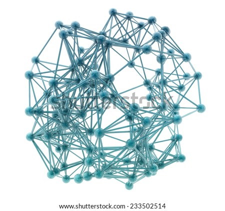 3d nerve plexus model on white background - stock photo