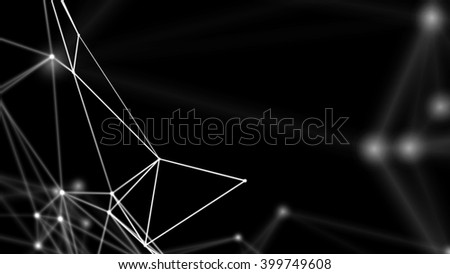 3D network evolving. Lines and dots forming a mesh. Depth of field settings. Background for communications, technology, science, computer networks, internet, social media. White on black. 3D rendering - stock photo