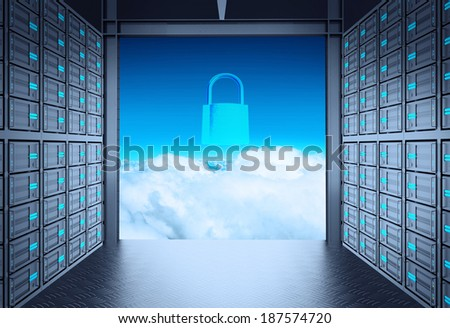 3d network server room and padlock icon on cloud outside as concept  - stock photo