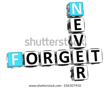 3D Never Forget Crossword on white background - stock photo