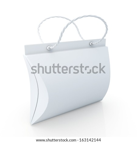 3d new modern design clean white shopping bags products container blank template and carry design option in isolated background with work paths, clipping paths included  - stock photo