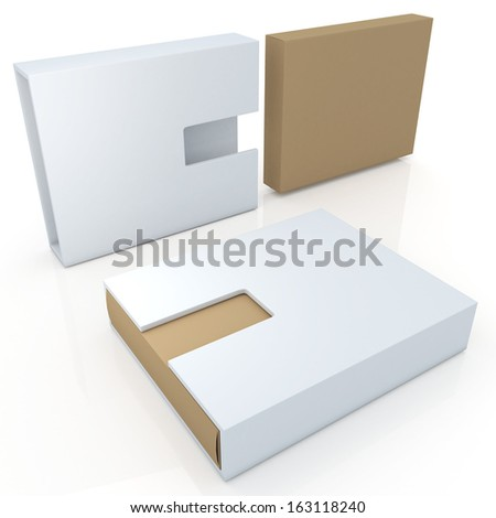 3d new modern design original brown &  clean white products container blank template and cut off design option for useful core slide in isolated background with work paths, clipping paths included  - stock photo
