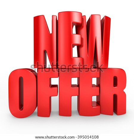 3D new offer word on white isolated background - stock photo