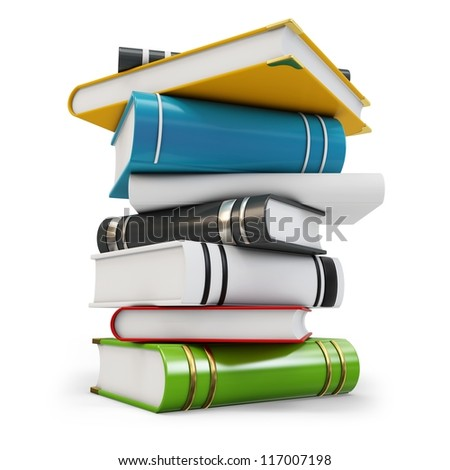 3d new pile of books on white background - stock photo