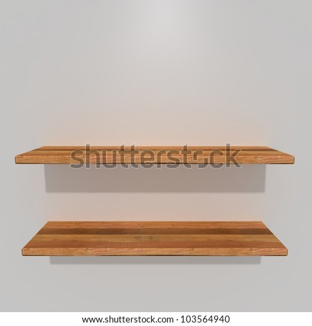 3d. new shelves with white background - stock photo