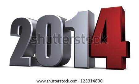 3D new year 2014 - stock photo