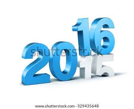 3D New Year blue 2016 over 2015 isolated on white