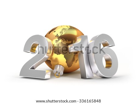 3D New Year 2016 greeting symbol with planet earth in a gold christmas ball
