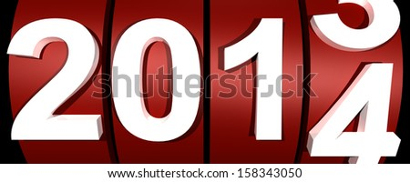 3d new year 2014 in red and white - stock photo