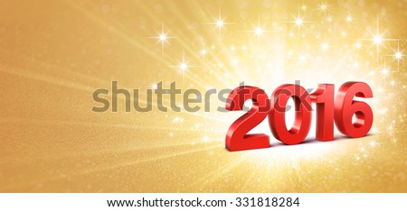 3D New Year red 2016 on a gold background with sparkling lights