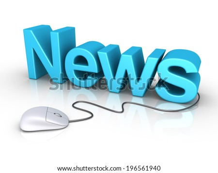 3d News word and a mouse is connected to it - stock photo