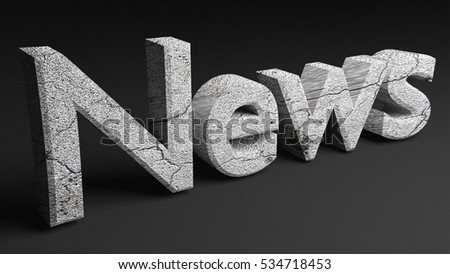 3d news word with stone texture